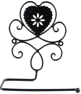 French Country Vintage Inspired Wall TOILET ROLL HOLDER HEART Wrought Iron New