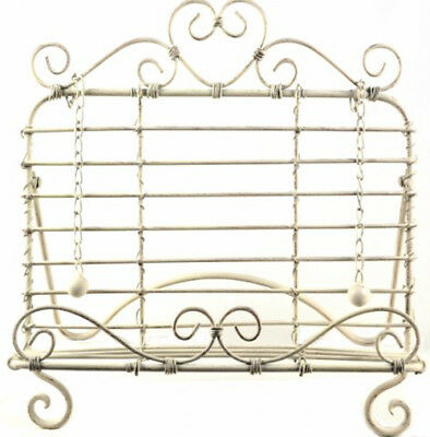 French Country Vintage Kitchen CREAM HEART Recipe Book Holder Wrought Iron New