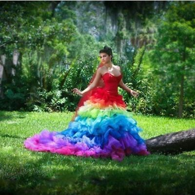Colorful Rainbow Sweetheart Ball Gown Wedding DressesTiered Organza Bridal Gown