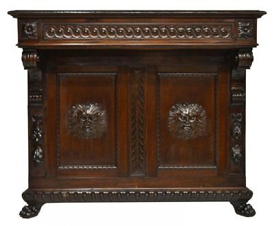 Italian Renaissance Revival Carved Entry Console Table, 19Th Century ( 1800S )