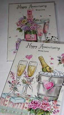 YOUR ANNIVERSARY CARDS x12, JUST 27p, WRAPPED, FOILED, EMBOSSED (G311