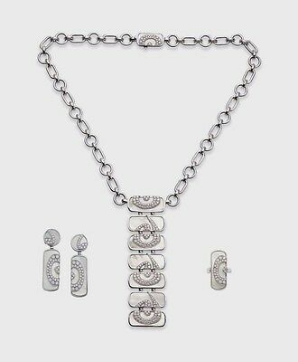 Bulgari Mother Of Pearl And Diamond Jewelry Necklace Ring Earring Set