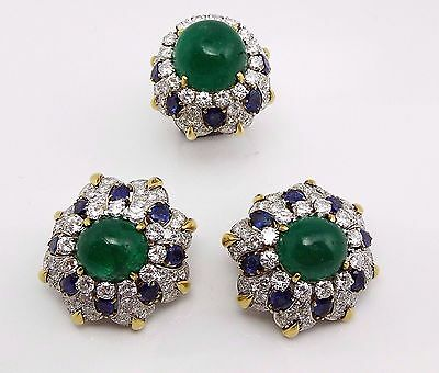 David Webb 18K Gold Platinum Diamond Sapphire Cabochon Emerald Earrings Sets
