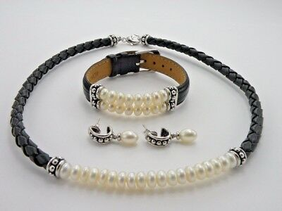 Honora Pearls White & Braided Black Leather Necklace Bracelet Earring Set