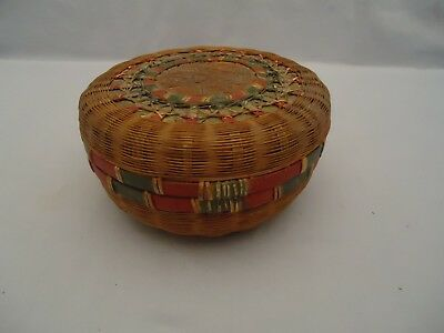 Vintage Antique Chinese Handwoven Round Sewing Basket Red Green Gold Paint Small