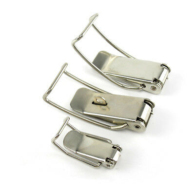 Stainless Steel Toggle Latch Hasps Silvery Tone Spring Loaded for Cabinet Box