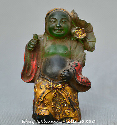 Collect Chinese Tibet old coloured glaze hand carve lotus flower Buddha statue