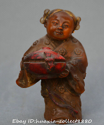 Collect Chinese Tibet old coloured glaze hand carve ancient teenage girl statue