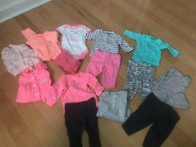 Carter's Baby Girl Lot Of Clothes Bodysuits, Pants, One Piece Size NEWBORN