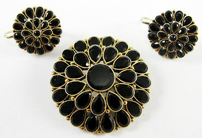 b1a3f1d28 Victorian 14K Rose Gold Black Onyx Pendant Brooch Earrings Set Mourning  Jewelry