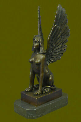 100%Genuine Real Bronze Metal Egyptian Style Sphinx Figurine Statue Décor EG