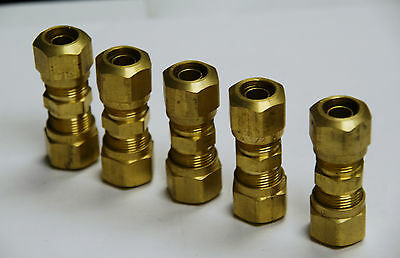 """Brass Fittings: DOT Air Brake Union Compression Fitting, Tube OD 1/4"""", Qty. 5"""