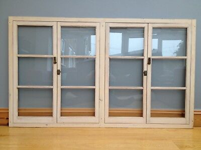 Antique Style Glazed Windows X 4 Framed Locks Old Pine Reclaimed  Architectural.