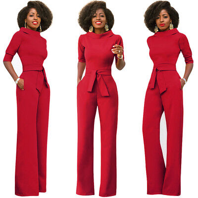 MB Fashion Women Bodysuit Jumpsuit Romper Chiffon Long Trouser True To Size 3828