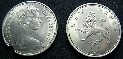 1970 Great Britain 10 Pence Split After Strike Mated Pair - Large Coin  - GEM