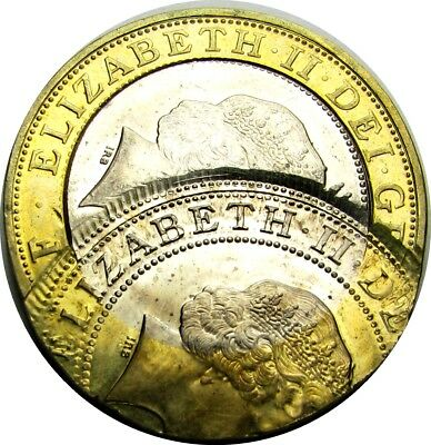 2006 Two Pounds Great Britain Triple Struck - Perfect 50% Off Center PL Surfaces
