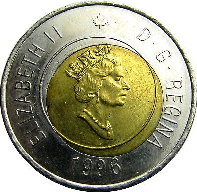 1996 Canada 2 Dollar with Off Set / Misaligned Core and Incomplete Punch