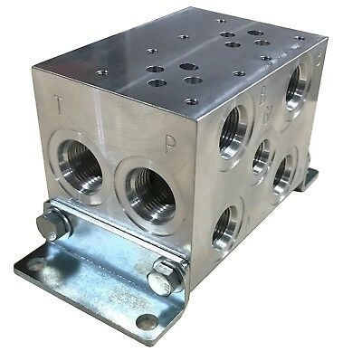 Hydraulic Parallel Manifold,Valve Mount NG6/D03,2 stations,Aluminum,O-ring Ports