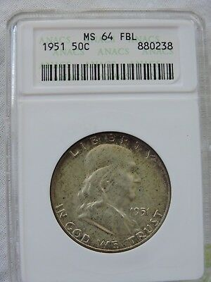 1951-P 50C Franklin Silver Half Dollar ANACS MS64 FBL FULL BELL LINES TONED