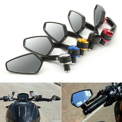 "1 Pair 7/8"" Motorcycle Rear View Handle Bar End Side Rearview Mirrors Black Hot"