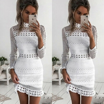 Sexy Fashion Women Long Sleeve Bodycon Casual Party Evening Cocktail Mini Dress