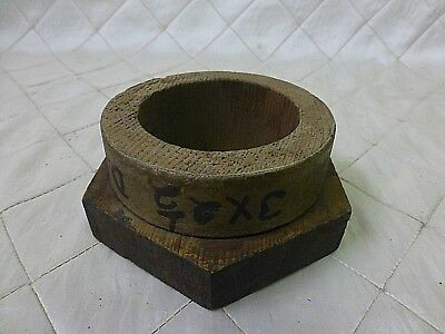 Wood Foundry Casting Mold Pattern Large Nut Bolt Steampunk Industrial Art 3 1/2""