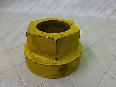 Wood Foundry Casting Mold Pattern Large Nut Bolt Steampunk Industrial Art 2 3/4""