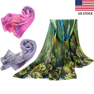 HOT Women Long Leaves Birds Scarf Wrap Ladies Shawl Girls Large Silk Scarves US