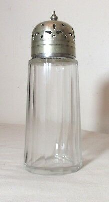antique 1800's silver-plate cut clear crystal sugar dredger muffineer shaker
