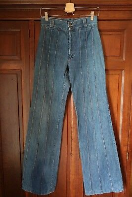 VINTAGE 1970s SEAMED BELL BOTTOM JEANS/FLARES/WIDE LEGS