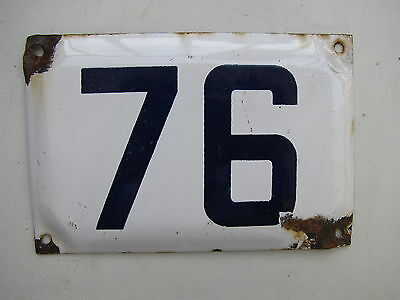 vintage ISRAELI enamel porcelain number 76 house sign # 76