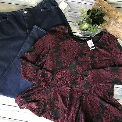 2Pcs NWT Womens Plus Size Outfit Lot Brook Taylor Pants, Candy Couture Top Size
