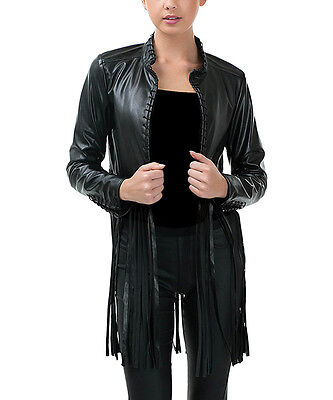 Cowgirl BLACK Womens Native American Inspired Fringe Leather Jacket L LARGE