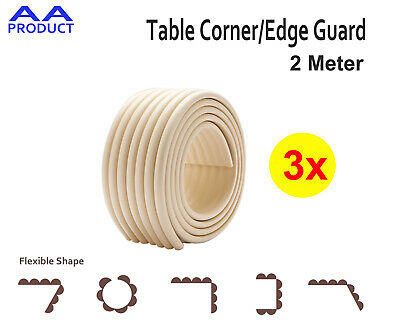 3*Soft Table Furniture Corner Edge Guard Kid Safety Protector Bumper Strip Beige