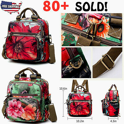 Womens Floral Diaper Bag Mommy Backpack Crossbody Shoulder Baby Bag
