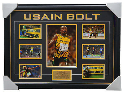 Usain Bolt Signed Olympic Gold Medal Champion Photo Collage Framed + COA