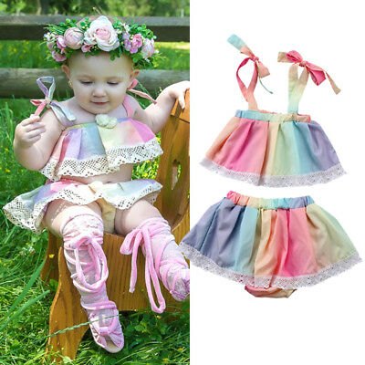 NEW Newborn Kids Baby Girl Lace Tops T-shirt Shorts Skirt Clothes Outfits Summer