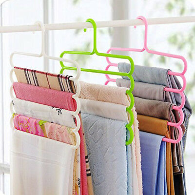 Multi-purpose Clothes Hanger 5 Layers Pants Trousers Scarf Hook Hanger Tool QASD