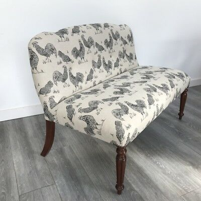 Antique William IV window seat small sofa fully re upholstered