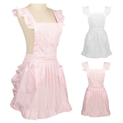 Ladies Victorian Pinafore Apron Maid Smock Costume Ruffle Pocket Fancy Dress UK