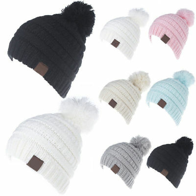 Baby Infant Boy Girl Winter Warm Knitted Cap Toddler Beanie Pom Pom Ski Hat TP