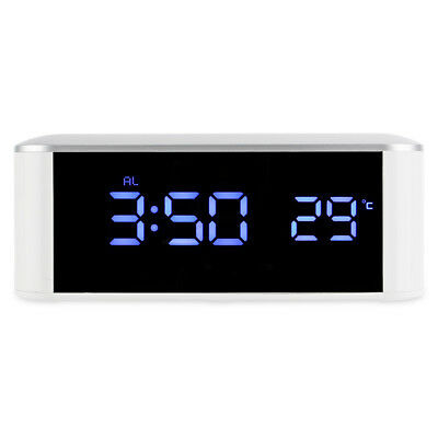 Mirror Digital Alarm Clock Thermometer LED Night Light with USB Cable 3 Colors