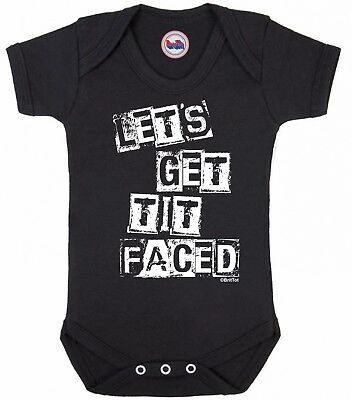 Funny boys or girls BABYGROW 'LETS GET TIT FACED' Novelty Vest Baby Clothes