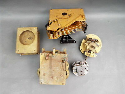 Job lot of vintage part clock movements for parts spares steampunk
