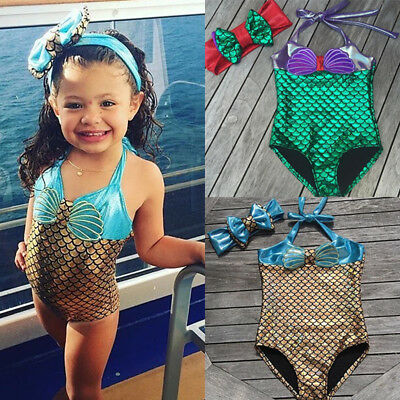 US Toddler Baby Kids Girl Mermaid Bikini Swimsuit Swimwear Bathing Suit Swimming