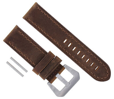 24Mm Leather Strap Watch Band For Panerai Marina Gmt 1950 88 104 177 112 Brown #