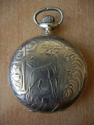 Vintage OLd RARE Antique Swiss pocket watch Silver Roskopf