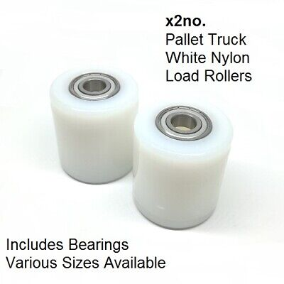 Pallet Truck Load Roller Wheel inc. Bearings - White Nylon VARIOUS SIZES - x2no.