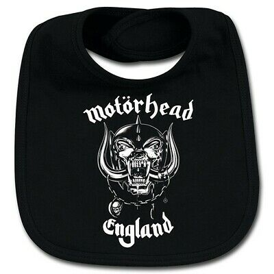Motorhead England Cotton Baby Bib Boys Girls Infant Heavy Metal Kids Black Bibs