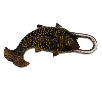2x Nepal Vintage Style Crafts Collection Fish Shaped Padlock for Inn Decor#1